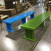 slat bench colored
